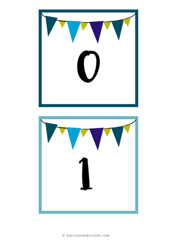 Large number line display 0-30 bunting style