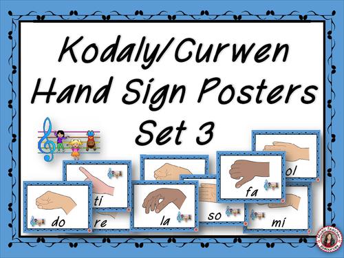Music Classroom Decor Set: Kodaly/Curwen Hand Sign Posters Set 3
