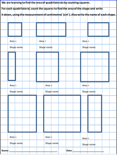 Area Work Sheet - Counting Squares to find the area (Y4)