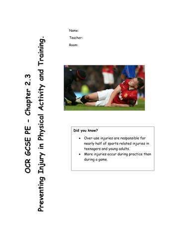 Chapter 2.3 - Preventing Injury in Physical Activity and Training (OCR GCSE PE 2016 Spec) REVISION