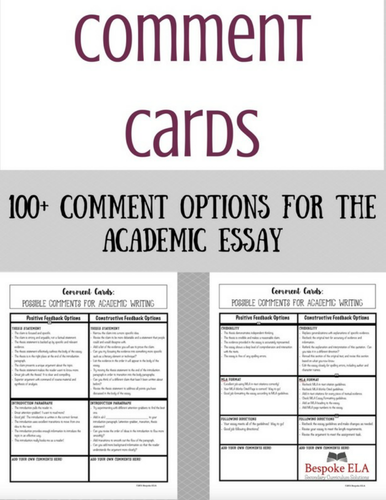 Comment Cards for Academic Essays:  Helping Students Give Quality Feedback