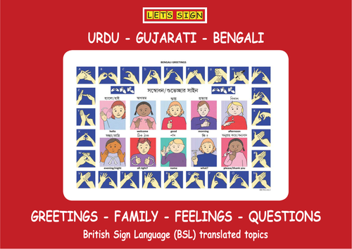 BSL Greetings, Family, Feeling & Questions Signs with URDU, GUJARATI & BENGALI Translations