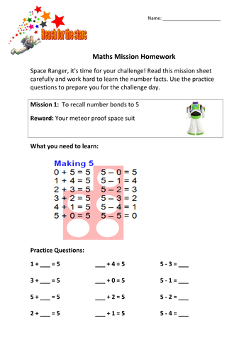Space Ranger Themed Complete KS1 Maths Challenge (like 99 club)