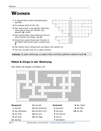 """German vocabulary puzzles """"Rooms/Furniture"""""""