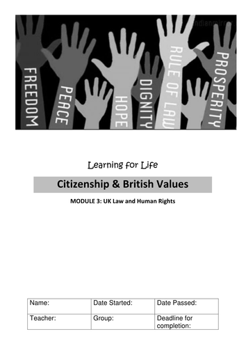 UK Law and Human Rights CITIZENSHIP WORKBOOK