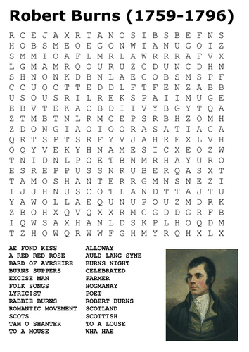 Robert Burns Word Search By Sfy773 Teaching Resources