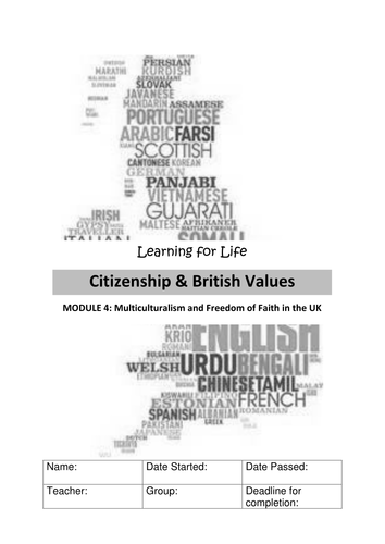 Multiculturalism and Freedom of Faith in the UK WORKBOOK Citizenship
