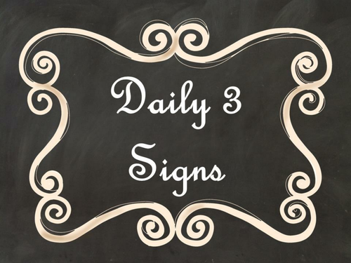 Daily 3 (Three) Math Signs/Posters (Black Chalkboard/Curly Frames Theme)