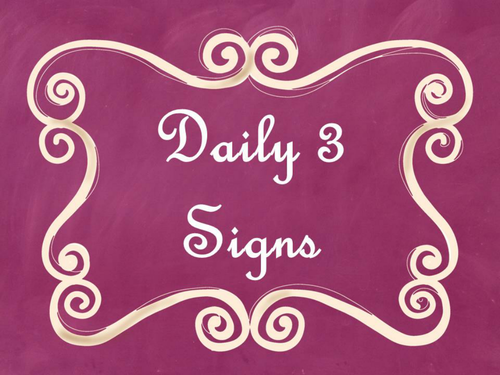 Daily 3 (Three) Math Signs/Posters (Pink Chalkboard/Curly Frames Theme)