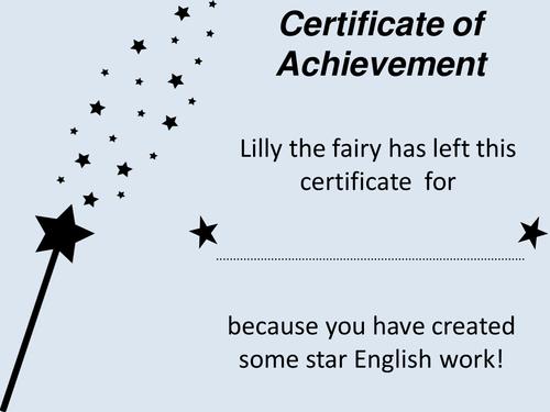 SEN Certificate for good English Work