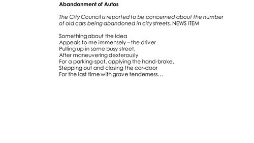 Bruce Dawe 'Abandonment of Autos' Annotated Poem