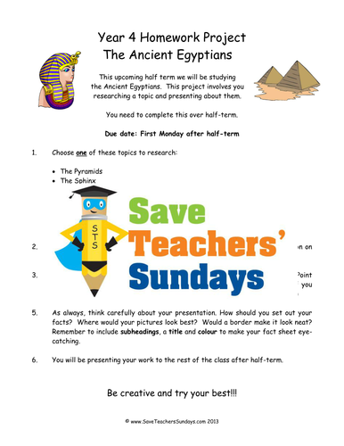 Ancient Egypt Homework Project and Presentation KS2 Lesson Plan ...
