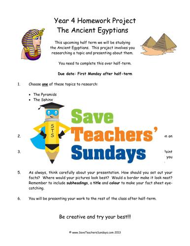Ancient Egypt Homework Project And Presentation Ks2 Lesson