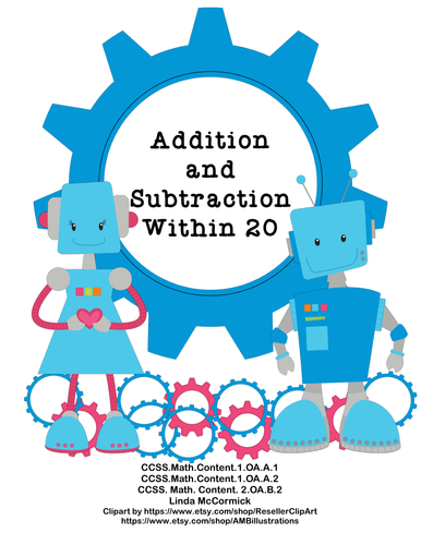 Math Addition & Subtraction Within 20 Worksheets Robots Theme by ...