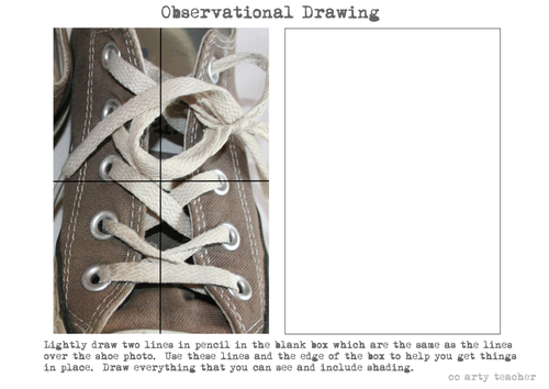 Book Cover Drawing Exercises : Shoe drawing worksheet by theartyteacher teaching