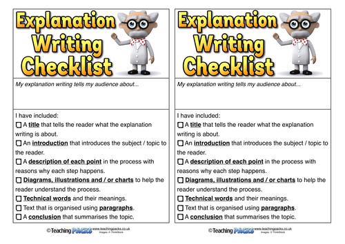 Explanation Writing Checklists