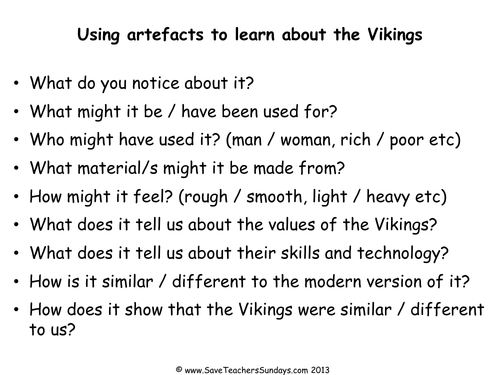 Viking Artefacts KS2 Lesson Plan and Activity