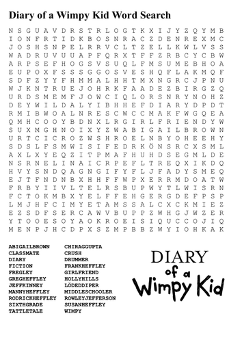 Diary Of A Wimpy Kid Word Search By Sfy773 Teaching Resources Tes