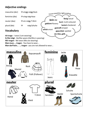 german clothes and adjectives kleidung echo 2 by miss baxter uk teaching resources tes. Black Bedroom Furniture Sets. Home Design Ideas