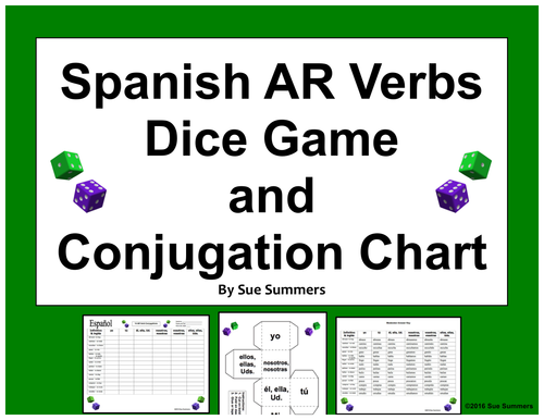 spanish ar verbs dice game and conjugation chart worksheet by