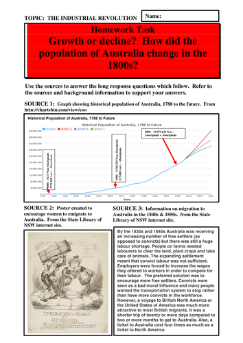 Growth or decline?  How did the population of Australia change in the 1800s?