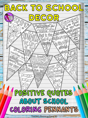 Classroom Decor Pennants Growth Mindset Positive Quotes Colouring Pages By TeachersResourceForce