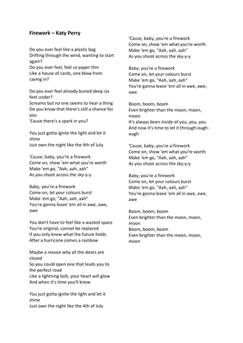 Are pop songs poetry?   Powerpoint, worksheet, 'Firework' by Katy Perry to analyse. Audio in desc.