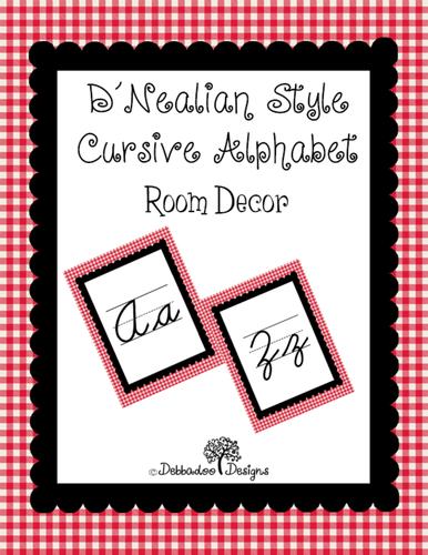 D'Nealian Style Cursive Display Alphabet Red Gingham Border