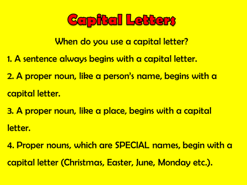 Starter Activities English Capital Letters