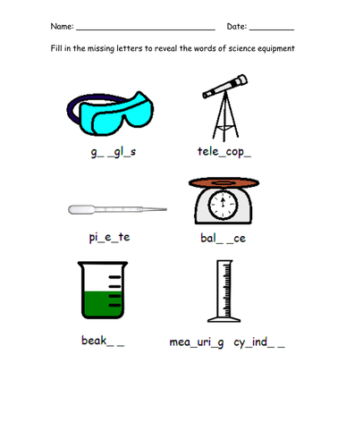 Science equipment dingbats. Year 7 starter by bidd1980