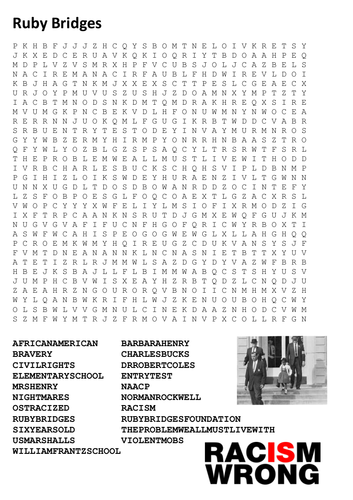 Ruby Bridges Word Search By Sfy773 Teaching Resources Tes