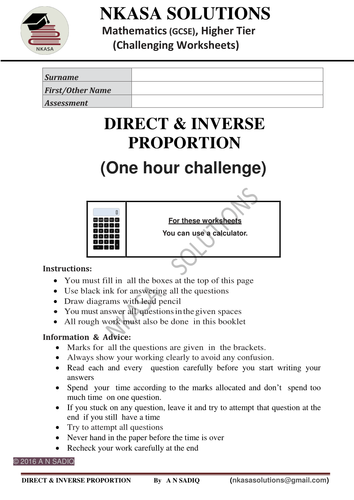 DIRECT & INVERSE PROPORTION(One  hour challenge)for hardworking and shining  GCSE / A Level students