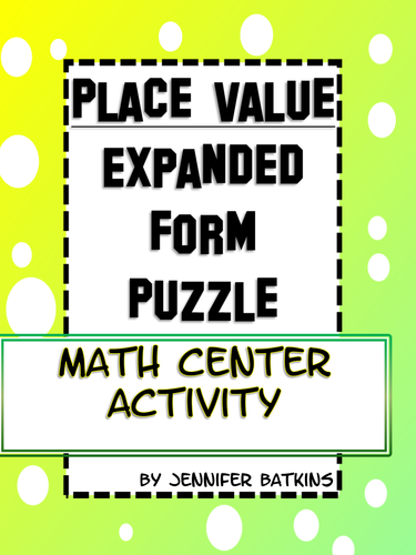 Place Value Expanded Form Math Activity