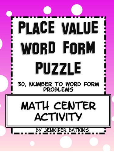 Place Value Word Form ( Number Names ) Math Activity