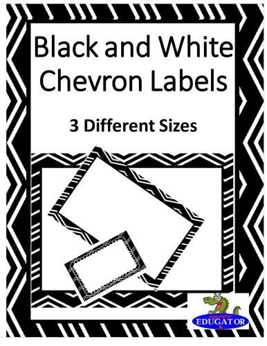 Editable Labels - Black and White Chevron