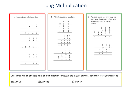 Long Multiplication Differentiated Resource by Mentor4Maths – Multiplication Challenge Worksheets