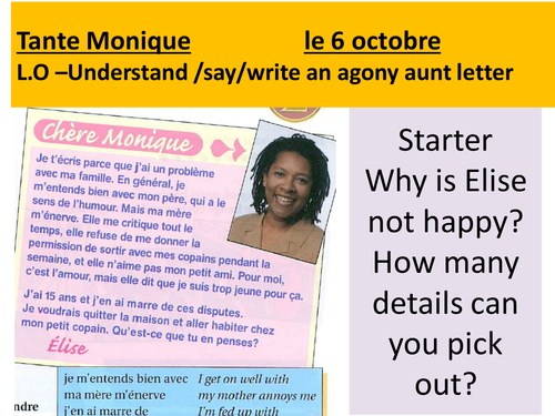 how to write a french letter resources