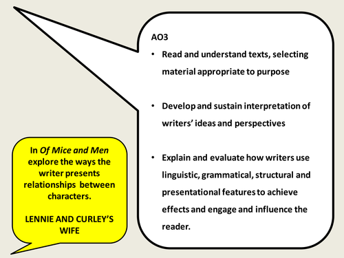 KS4 English - Of Mice and Men - Examples of a Graded Responses to Exam Question & Essay Plan