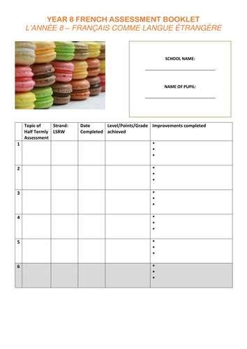 New GCSE KS3 Assessments - Year 8 French