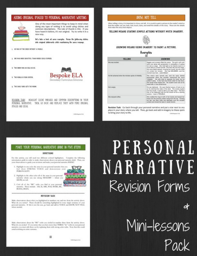 Personal Narrative Essay/Memoir Revision Forms and Mini-lessons PACK