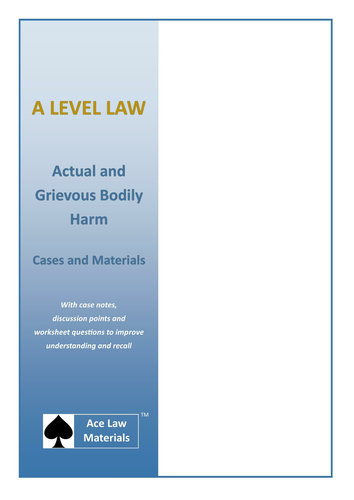 A Level Law - Offences Against the Person Act 1861 Cases and Materials (AQA, OCR and WJEC)