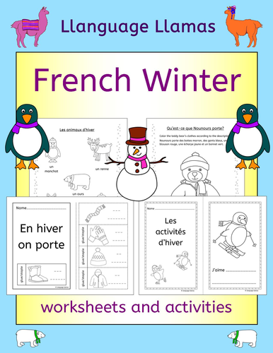 french winter l 39 hiver activities worksheets and handouts by llanguagellamas teaching. Black Bedroom Furniture Sets. Home Design Ideas
