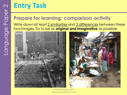 AQA GCSE English new specification Language Paper 2 Question 1 and 2: poverty themed.