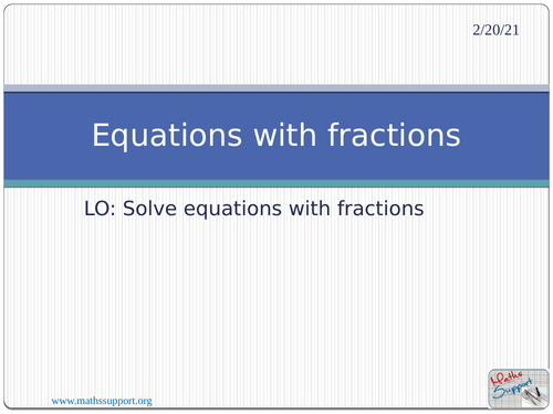 Solving equations with fractions by oralhurt Teaching Resources – Solving Equations with Fractions Worksheet