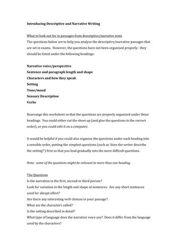 Introducing Analysis of Narrative and Descriptive Writing