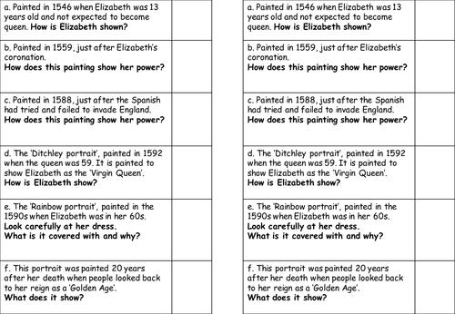 Elizabeth Portraits Worksheet