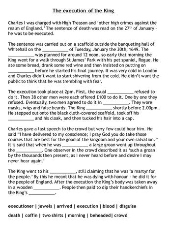 King Charles Execution Worksheet