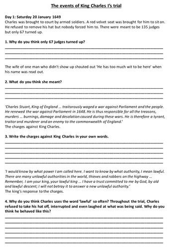 King Charles Trial Worksheet