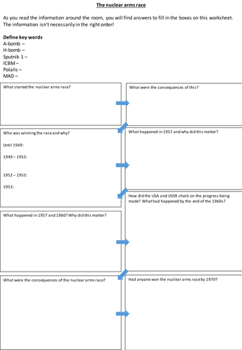 Nuclear arms race Worksheet