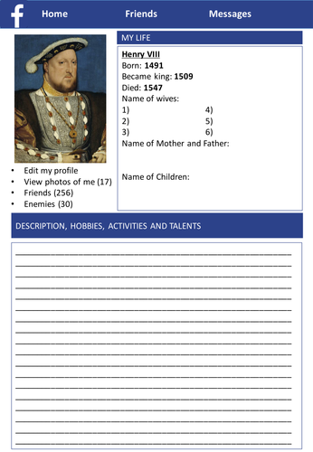 What was Henry VIII like Worksheet